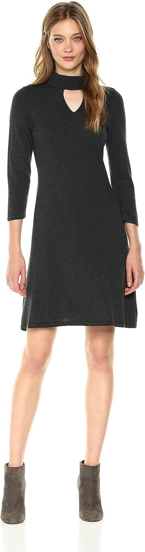 Nine West Womens 3 4 Sleeve Mock Neck Dress with Keyhole Detail Dress