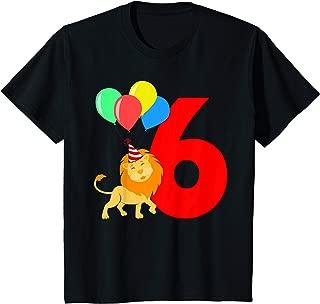 Kids 6 Year Old Lion Birthday Party King Gift Boys Girls Shirt