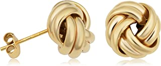 KoolJewelry 14k Yellow Gold Classic Love Knot Stud Earrings Minimalist Jewelry, 10.5 MM