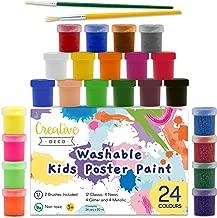 Creative Deco Temperas Pintura Lavable de Dedos Niños Bebes | 24 x 20 ml Copas | No Toxica | Colores: Básicos Fluorescentes Brillantes Metálicos y Neón Principiantes y Artistas