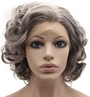 Mxangel Heat Resistant Synthetic Lace Front Gray Short Curly Wig
