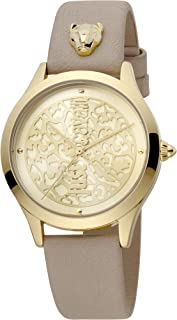 Just Cavalli Animalier Pelle Metal Watch JC1L170L0025 - Quartz Analog for Women in Genuine Leather Strap