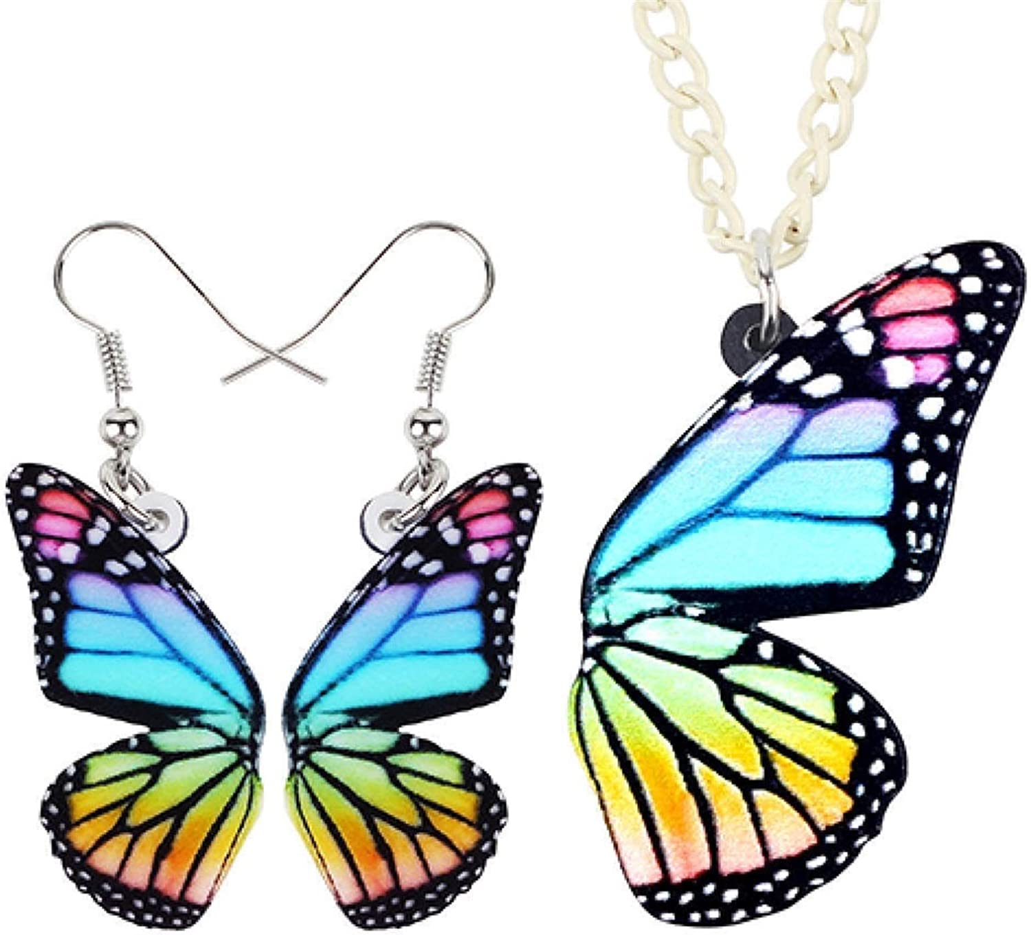 Acrylic Colorful Butterfly Earrings Pendant Hot Necklace Max 79% OFF Save money Collar