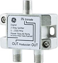 GE Digital 2-Way Coaxial Cable Splitter, Works with HDTV, Amplifiers, Amplified Antennas, RG6 Coax Cable Compatible, 5-2300Mhz Range, Corrosion Resistant, Nickel, 34136