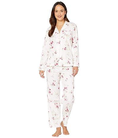 LAUREN Ralph Lauren Petite Classic Sateen Long Sleeve Notch Collar Long Pants Pajama Set (White Floral Stripe) Women