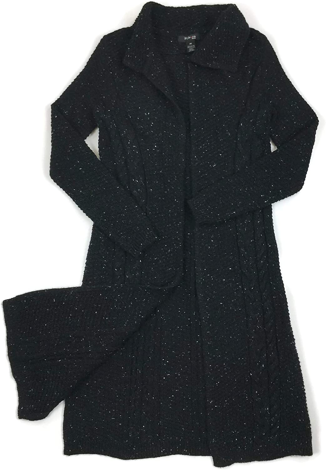 Style & Co. Cardigan Black Cable Knit Collared Completer Sweater Size Petite PP