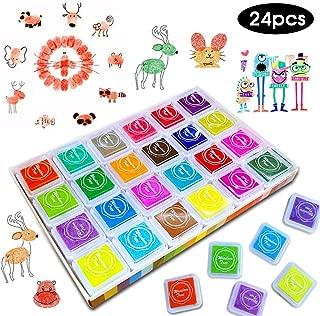Craft Finger Ink Pad, SPECOOL 24 colores Huella de tinta de huellas dactilares No tóxico para el arte de goma Tarjeta de sello Craft Rainbow Rainbow Ink pad Hacer decoración de boda (Lavable)