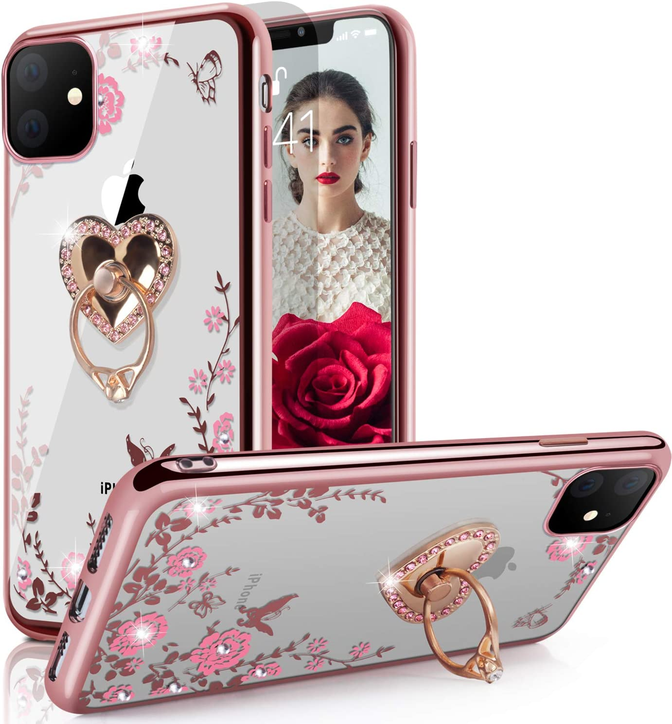 iPhone 11 Pro Case,WATACHE Glitter Sparkly Diamond Secret Garden Floral Butterfly Clear Back Soft TPU Case with Bling Ring Grip Holder Stand for Apple iPhone 11 Pro,Rose Gold