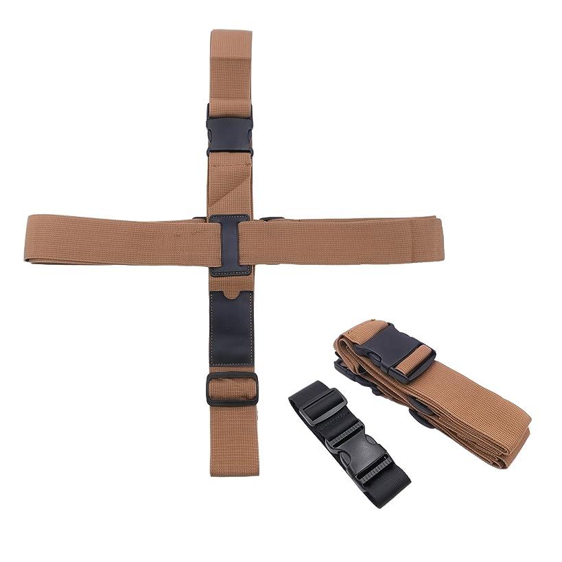 ポール明確なバーストKalevel 2本 バッグとめるベルト プラス ストラップ スーツケース ベルト 十字 ワンタッチ 荷物止め バッグ ベルト バックル 調整可能 旅行 出張 便利グッズ(ブラウン)