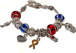 Jewelry Nexus シルバートーン アメリカ陸軍隊 イエロー レッド ホワイト ブルー リボン アメリカ国旗 チャームブレスレット