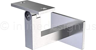 Stainless Steel Handrail Wall Bracket Square for Flat/Curved Bottom Tube Slim Adjustable by Inline Design