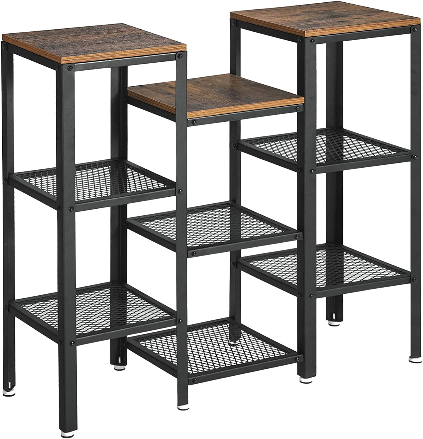 VASAGLE Industrial Plant Stand, Bookshelf, Display Rack Utility Shelf, 9-Tier Storage Rack Shelving Unit, Wood Look Accent Furniture with Metal Frame for Home and Office ULSS11BX