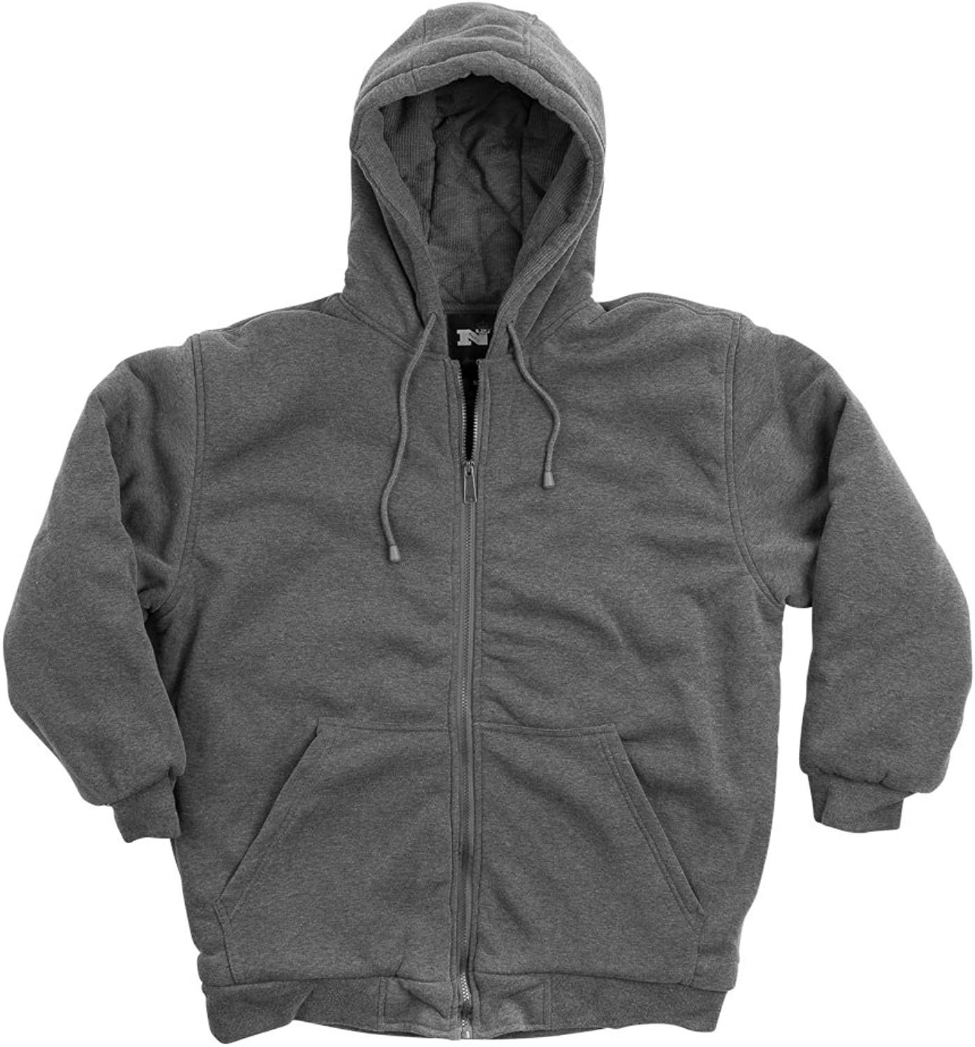 North 15 Men's Hooded Sweatshirt  DTM Quilted  Thermal Lined  Zipper Front  Medium Charcoal
