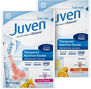 Juven Therapeutic Nutrition Drink Mix Powder for Wound Healing Support, Includes Collagen Protein, Orange and Fruit Punch,...