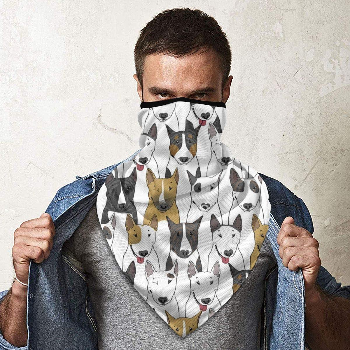 PBC Funny Dogs Bull Terrier Fishing Multifunctional Headwear Bandana Face Mask Bandana Face Mask Head Bands Sport Mask Headscarf Neck Gaiter Sun Masks Ski Half Mask