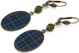 Orecchini resina plaid scozzese blu nero verde tartan ottone bronzo perla personalizzate regali Natale amici compleanno ce...