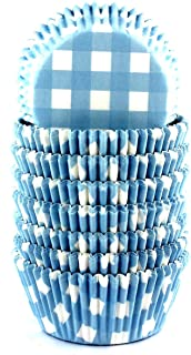 Eoonfirst Gingham Standard Cupcake Liners Muffin Baking Cups 200 Pcs (Blue)
