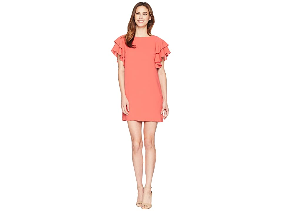 Adrianna Papell Gauzy Crepe Ruffle Sleeve Shift (Cruise Coral) Women