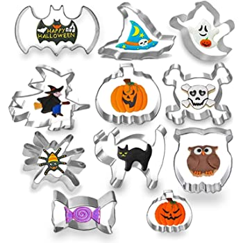 11PCS Halloween Cookie Cutters set, MSDADA Metal Stainless Steel Cutters Halloween Series Pumpkin, Bat, Cat Ghost, Spider, Skull, Witch, Witch Hats, Candy, and Owl Biscuit Cutters Kitchen Tools