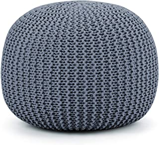 Giantex Pouf Round Knitted Hand Knitted Dori Cable W/Handmade Cotton Braid Cord, Home Decorative Seat for Guests, Ideal for Living Room, Bedroom, Kid's Room Floor Ottoman Footrest (Gray)