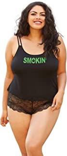 Women's Cute Plus Size Black Weed Leaf Tank and Panty Set-1X/2X