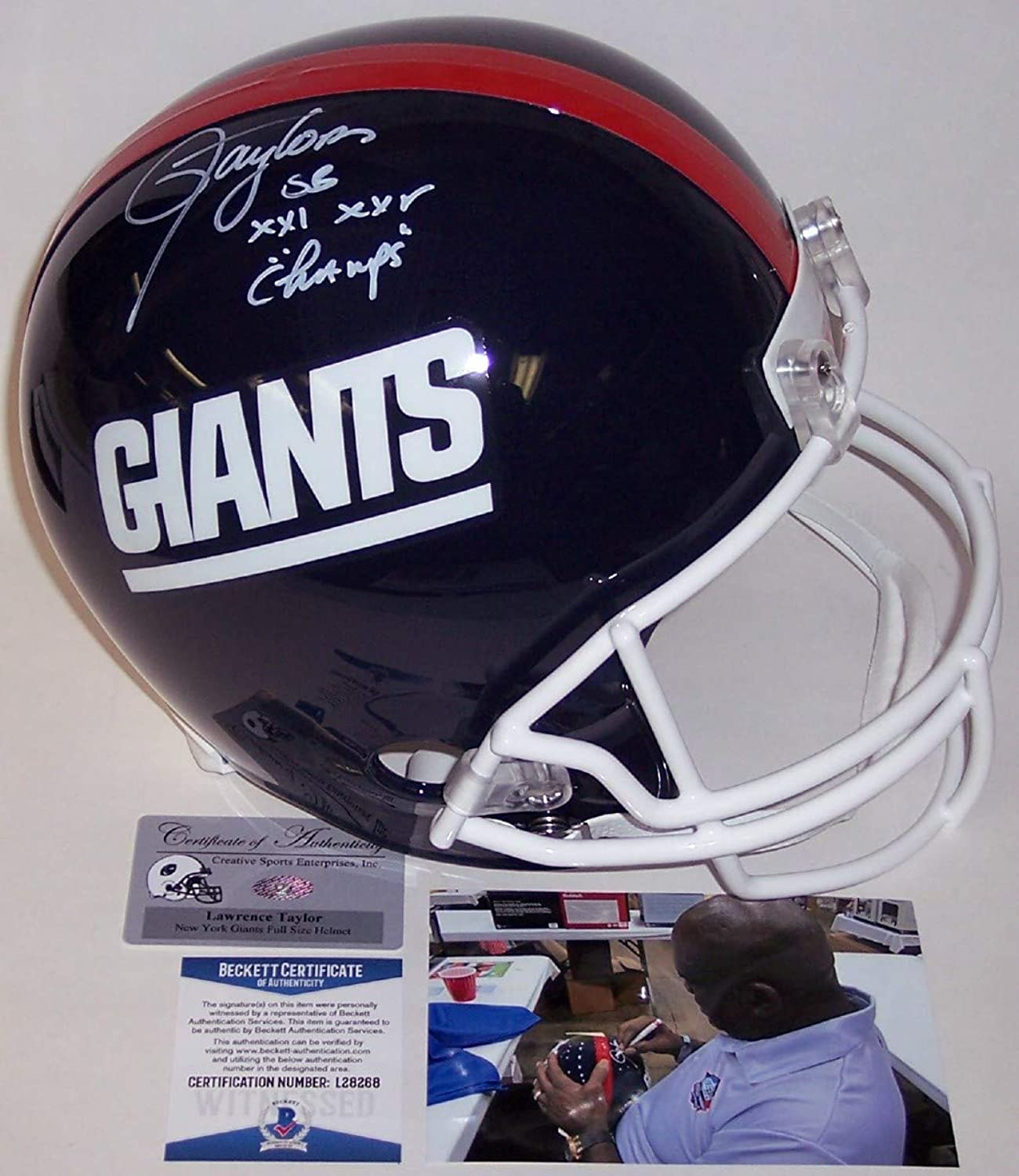 Lawrence Taylor Autographed Hand New York Giants Throwback Full Size Helmet  BAS Beckett
