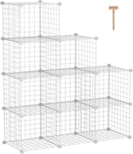 """C&AHOME Metal Wire Cube Storage, 9-Cube Bookcase, Stackable Storage Bins, Modular Book Shelf or Shoe Rack, DIY for Closet, Living Room, Kid's Room, Home Office, 36.6""""L x 12.4""""W x 48.4""""H, White"""