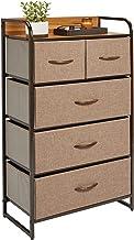 mDesign Tall Dresser Storage Chest - Sturdy Steel Frame, Wood Top, Easy Pull Fabric Bins - Organizer Unit for Bedroom, Hal...