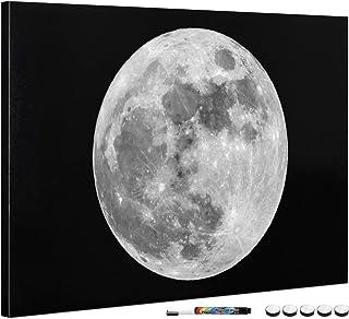 Navaris Tableau magnétique - Panneau mémo 60 x 40 cm avec aimants - Tableau Mural Design Pleine Lune avec marqueur et kit ...