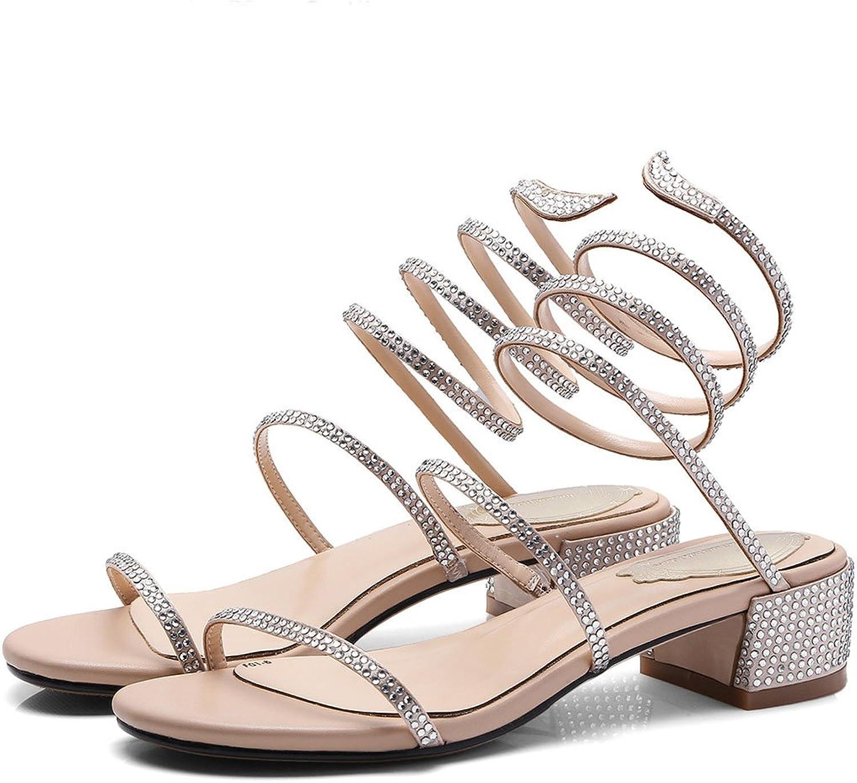 LZWSMGS Ladies and Ladies Peep Toe Sandals Pump Summer Rhinestones with High Heels Ladies Sandals (color   Champagne, Size   34)