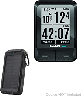BoxWave Wahoo ELEMNT Mini Battery, [Solar Rejuva PowerPack (6000mAh)] Solar Powered Backup Power Bank for Wahoo ELEMNT Mini - Jet Black