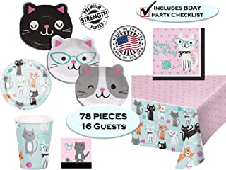 Cat Themed Birthday Party Supplies for 16 - Dessert and Dinner Plates, Napkins, Cups, Tablecover, Thank You Stickers and Checklist - Premium Strength - Kittens Cats, PURR-fect (Deluxe - 16 SERVINGS)