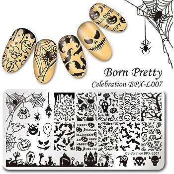 BORN PRETTY Nail Art Stamp Template Halloween 12X6cm Rectangle Image Plate Celebration BPX-L007