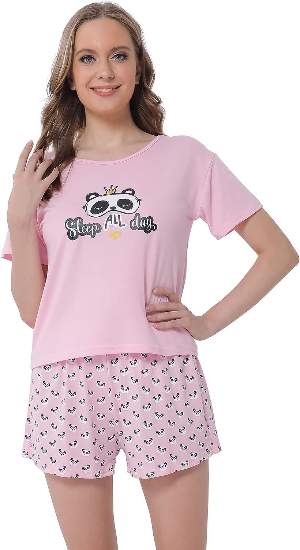 Women Pajamas Set-Short Sleeve Top and Shorts Sleepwear Summer Casual Soft Loungewear Set Size S-XXL