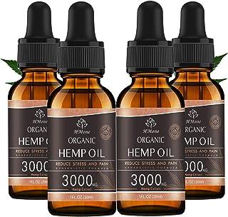 (4 Pack) Organic Hemp Oil 3000mg - for Anxiety & Stress Relief - Better Sleep - 100% Natural, Vegan, Non-GMO