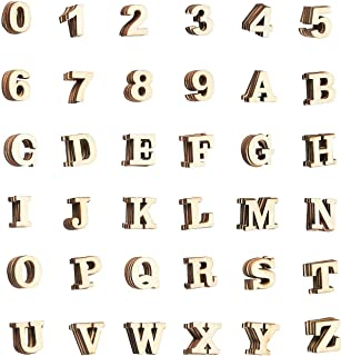 Wooden Letters - 144-Count Wood Alphabet Letters and Numbers for DIY Craft, Home Decor, Natural Color, Small