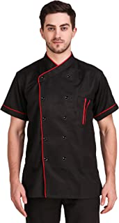 KODENIPR CLUB® Mens Womens Double Breasted Black Chef Coat Red Piping Contrast,Lightweight, Poly/Cotton,Size (X-Large(42))