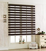 Foiresoft Custom Cut to Size, [Winsharp Woodlook 47] Horizontal Window Shade Blind Zebra Dual Roller Blinds & Treatments, Chocolate, W 71 x H 47 (Inch), 92 Inch Wide 72 Inch Long