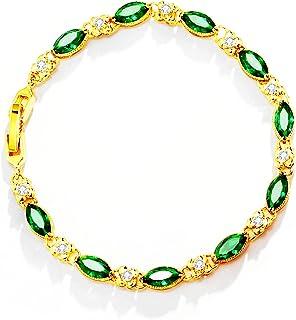 JUBAIYUAN Lady's Cuff Bracelet Fashion Ruby Electroplating Unfading Flower Shaped Crystal Chain