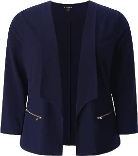 Women's Plus Size Stretch Texture Chic Blazer Jacket with Zipper Details