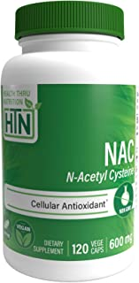 NAC 600mg N-Acetyl Cysteine 120 vegecaps Non GMO and Free from Common excipients Such as Magnesium Stearate and Silica by Health Thru Nutrition