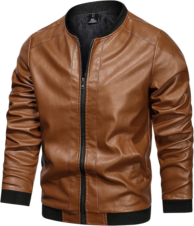 Men's Leather Jacket Fashion Plus Size Baseball Uniform Lightweight Faux Leather Motorcycle Coat Bomber Outwear