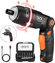 TACKLIFE Cordless Screwdriver, 3.6V Electric Rechargeable Screwdriver 2000Ahm Lithium Ion Battery MAX Torque 4N.m, 3 Flexible Position and 6 Torque Setting, Front LED and Rear Flashlight,SDH13DC