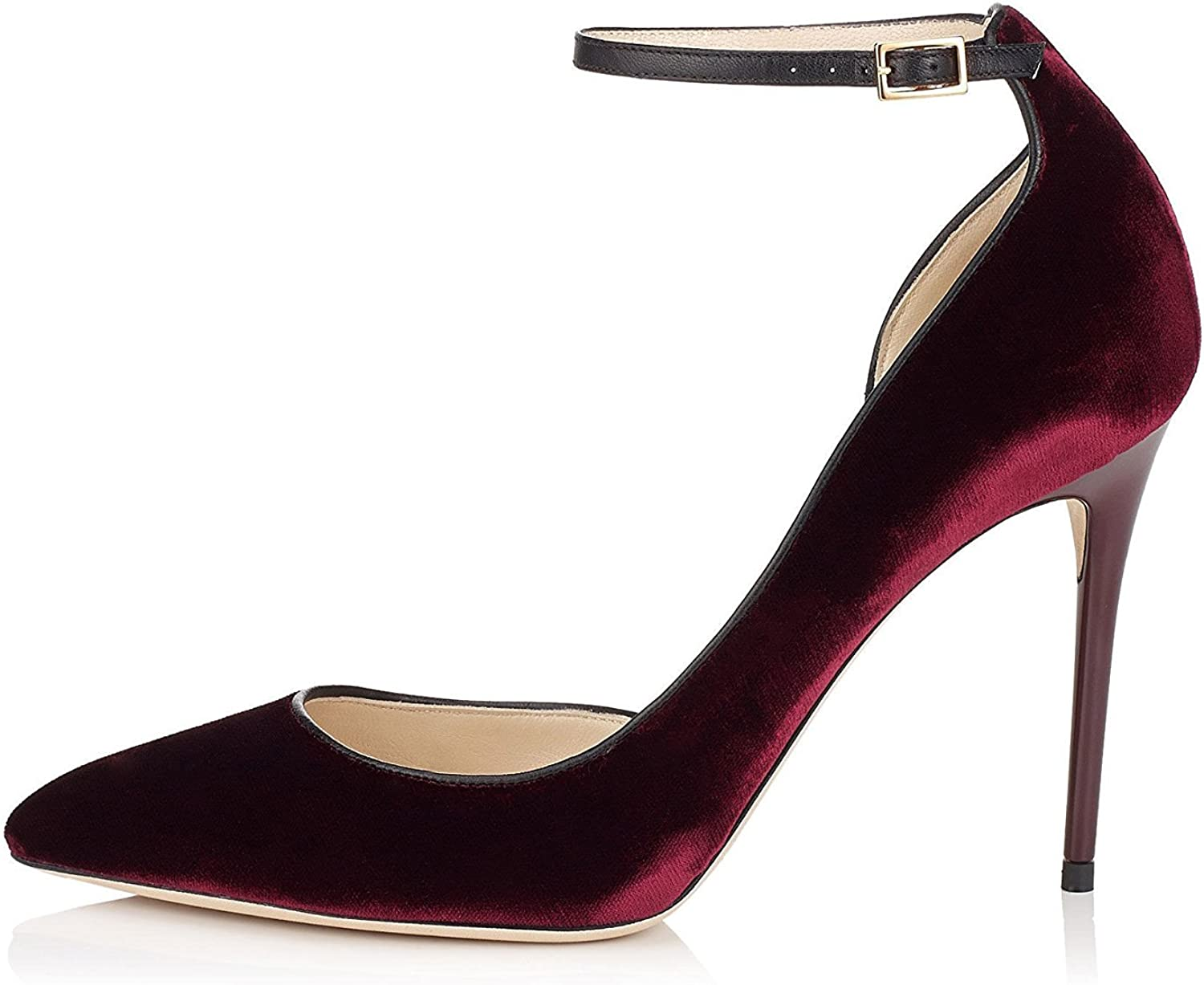 Nansay Women's shoes Big Size D'Orsay&Two-Piece High Heels Pointed Toe Ladies shoes Buckle Strap Pumps