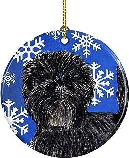 Caroline's Treasures SS4649-CO1 Affenpinscher Winter Snowflakes Holiday Christmas Ceramic Ornament, Multicolor