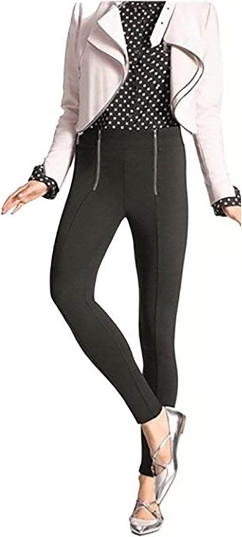 HUE Zippered Sleek Ponte Leggings XL Black