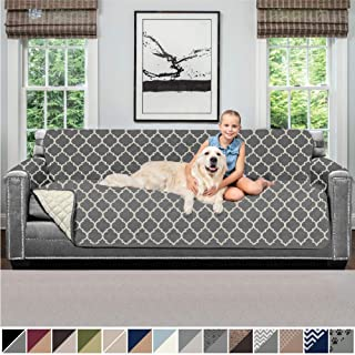 Sofa Shield Original Patent Pending Reversible X-Large Oversized Sofa Protector for Seat Width to 78 Inch, Furniture Slipcover, 2 Inch Strap, Couch Slip Cover for Dogs, Sofa, Quatrefoil Charcoal Linen