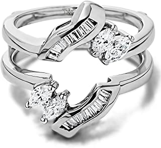 TwoBirch 0.54 Ct. Baguette and Marquise Twist Ring Guard Enhancer in Sterling Silver with Cubic Zirconia