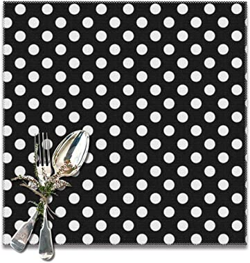 White Black Polka Dot Placemats Set of 6 for Dining Table Washable Kitchen Table Mats Easy to Clean 12 X 12 Inch