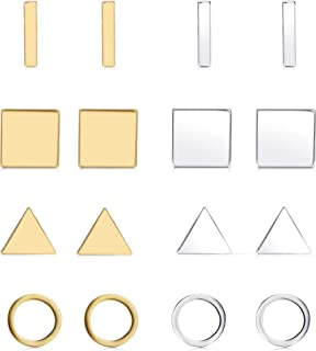 Finrezio 8 Pairs Silver&Gold Tone Geometric Stud Earrings for Women Men Bar Round Triangle Square Earring Set Stackable Fa...